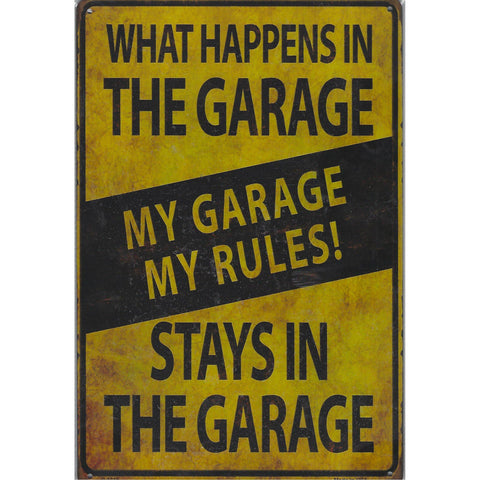 What Happens In The Garage Tin Sign-Mr Revhead