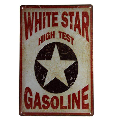 White Star High Test Gasoline Tin Sign-mightymoo