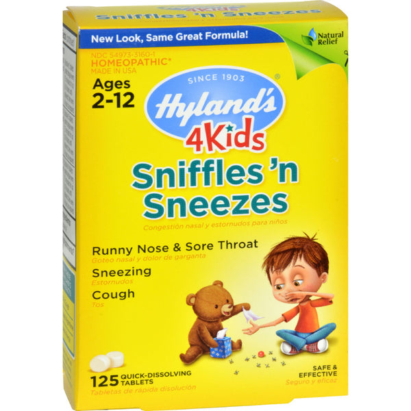 Hylands Homeopathic Sniffles 'n Sneezes 4 Kids - 125 Tablets