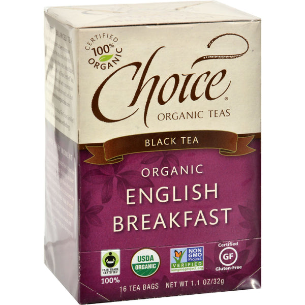 Choice Organic Teas English Breakfast Tea - 16 Tea Bags - Case of 6