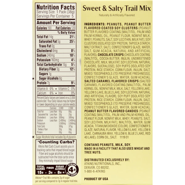 Atkins Trail Mix - Sweet and Salty - 1.34 oz - 5 Count - Case of 4