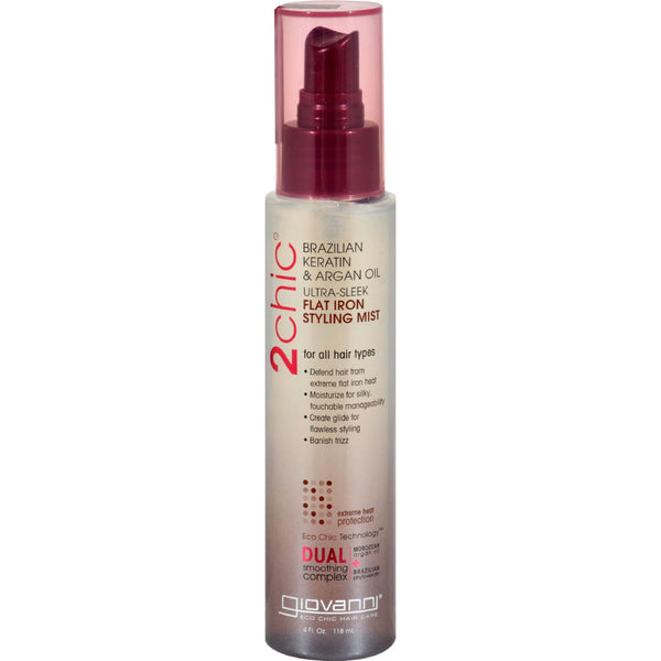 Giovanni 2chic Flat Iron Styling Mist with Brazilian Keratin and Argan Oil - 4 fl oz