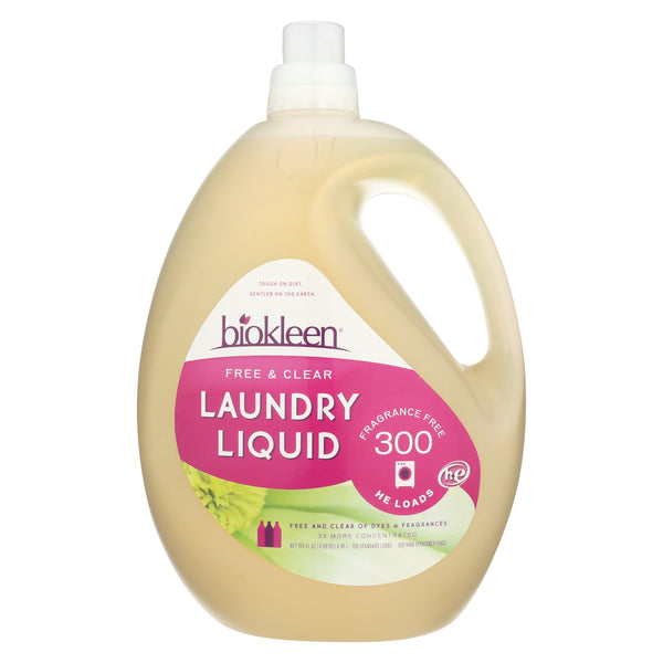 Biokleen Laundry Liquid - Free and Clear - Case of 3 - 150 Fl oz.
