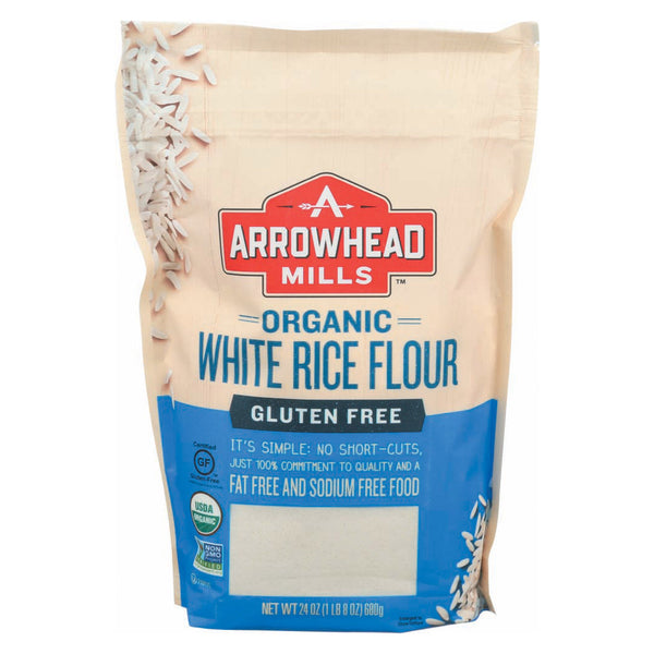 Arrowhead Mills Organic White Rice Flour - Gluten Free - Case of 6 - 24 oz.