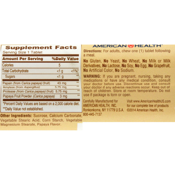 American Health Original Papaya Enzyme Chewable - 12 Chewable Tablets Each / Pack of 16 - Case of 16