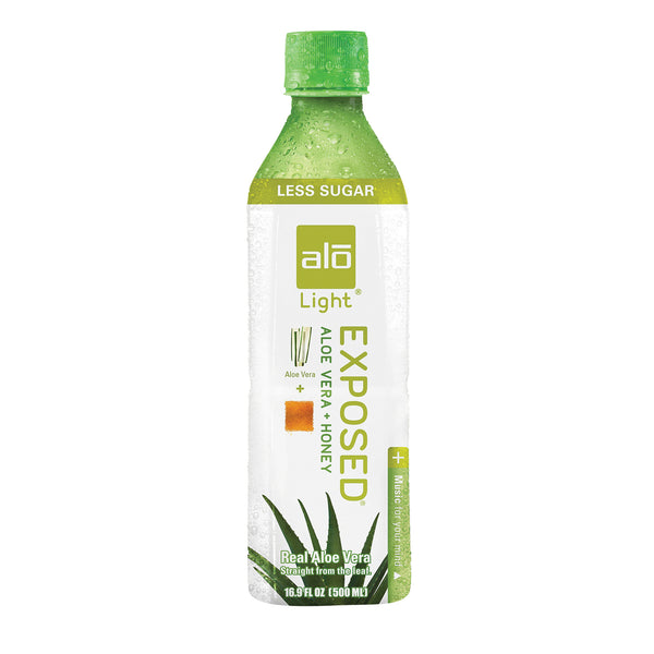 Alo Original Exposed Aloe Vera Juice Drink - Original and Honey - Case of 12 - 16.9 fl oz.