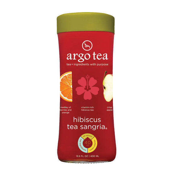 Argo Tea Iced Green Tea - Hibiscus Tea Sangria - Case of 12 - 13.5 Fl oz.