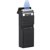 Black Label El Presidente Flat Flame Lighter Black & Carbon - Brigham & More