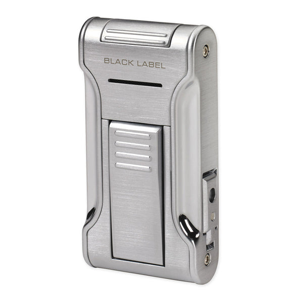 Black Label Flat Flame II Lighter Brushed Chrome - Brigham & More