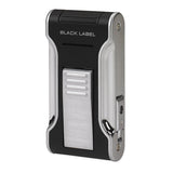 Black Label Flat Flame II Lighter Black & Chrome - Brigham & More