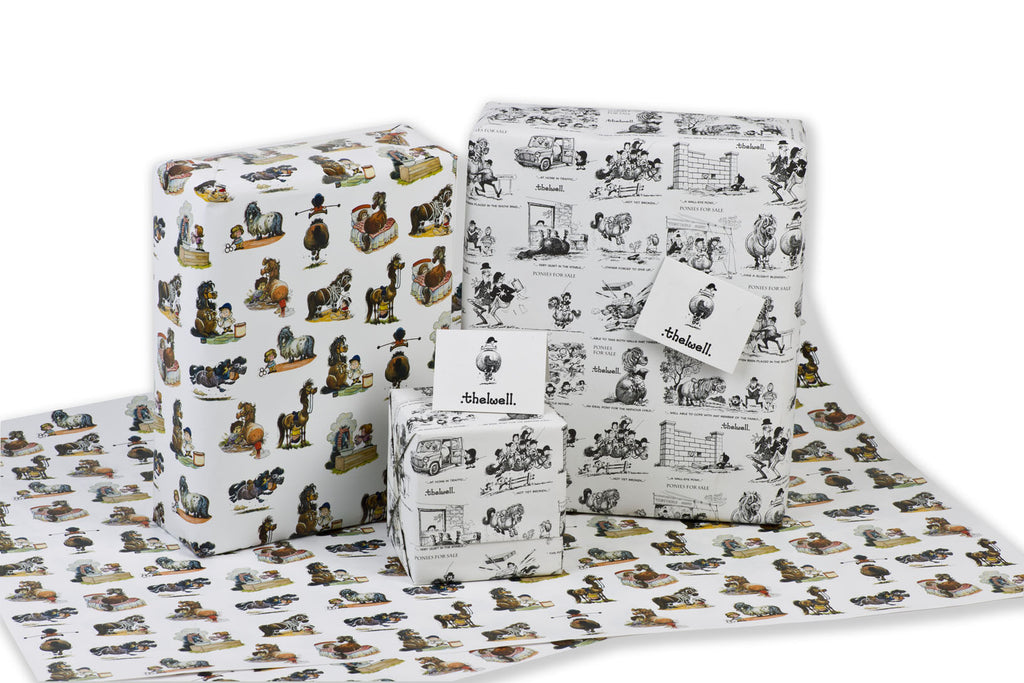 Ideal for horsey types: Make your present extra special by wrapping it in Thelwell-themed paper
