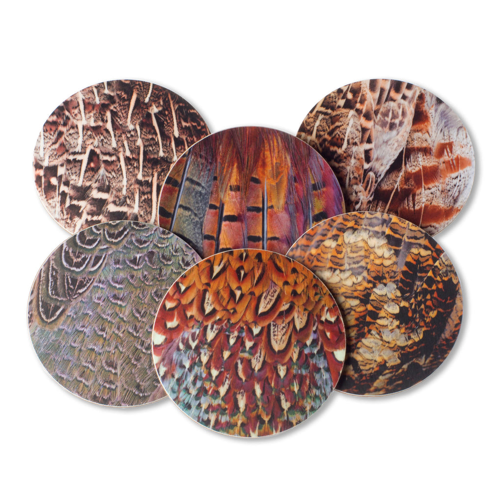 Game bird plumage drinks coasters or coffee mats. Shooting, hunting gift. Birthday present