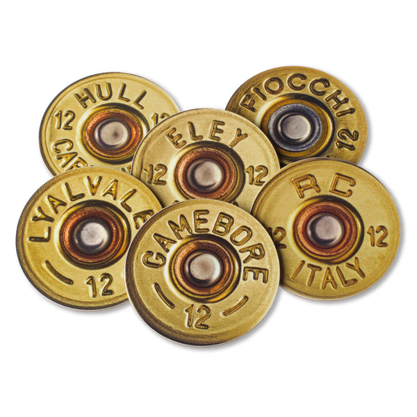 Set of six shotgun cartridge drinks coasters