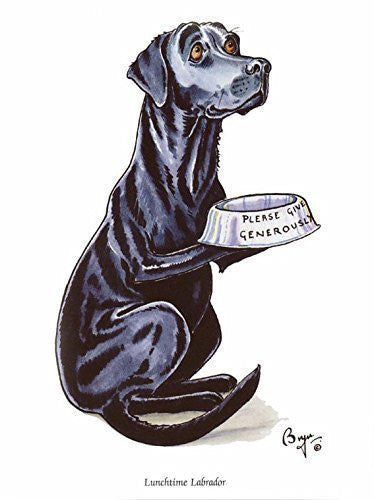 """Lunchtime Labrador"" Funny labrador dog greeting card by Bryn Parry. Blank on inside for any message."
