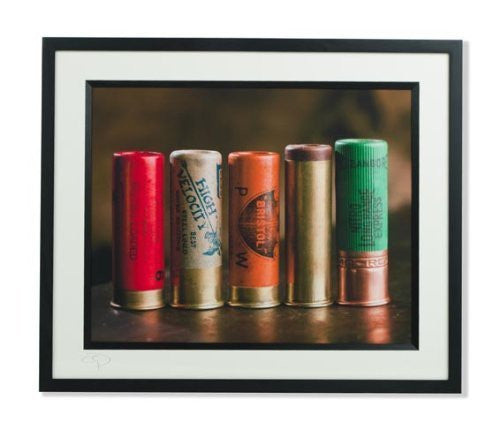 Old Shotgun Cartridges signed open edition print by Charles Sainsbury-Plaice. Printed on a photo rag paper, sealed, framed and signed. A great shooting gift.