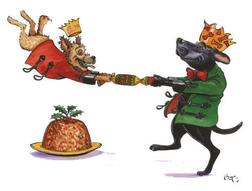 """Canine Cracker"" cartoon dog christmas greeting card by renowned artist Bryn Parry"