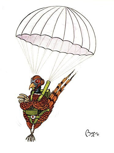 """Just dropping in"" funny shooting, pheasant greeting card by Bryn Parry. Large A5 size, blank on the inside, cellophane wrapped with envelope."