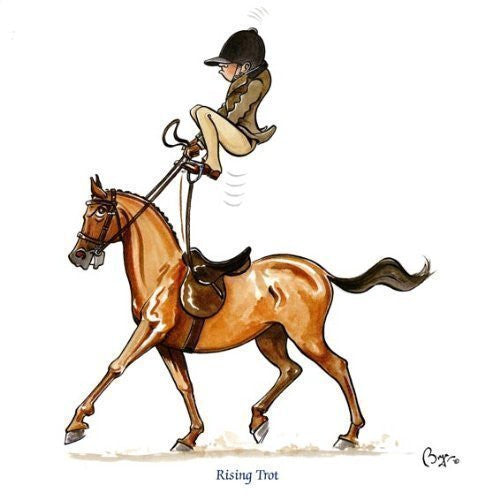 Horse riding greeting card by Bryn Parry. Rising Trot