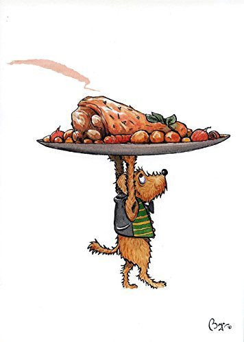 """Pickle with Roast"" cartoon dog with roast joint of meat, greeting card with envelope by artist Bryn Parry. A great card for cooks, chefs, waiters and dog lovers"