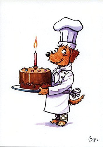 """Pickle with Birthday Cake"" cartoon dog, greeting card with envelope by artist Bryn Parry."