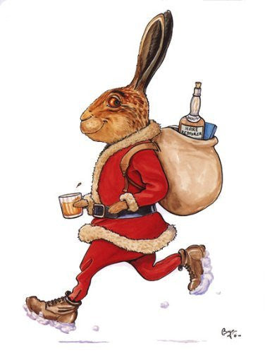 Hare Restorer christmas card. Cartoon of brown hare dressed as Santa by iconic sporting and country sports artist Bryn Parry