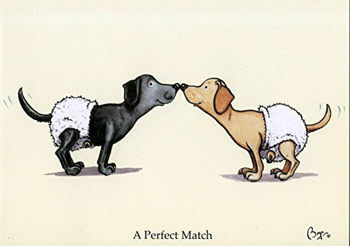 """A perfect match"" cartoon dog, valentines greeting card with envelope by artist Bryn Parry."