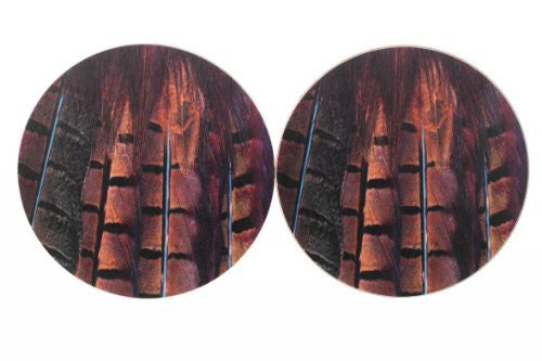 Pheasant Tail Feather Coasters MkII x2