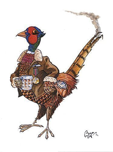 """The Veteran"" Funny pheasant shooting greeting card by Bryn Parry. Perfect mans card. Blank on inside for any message."