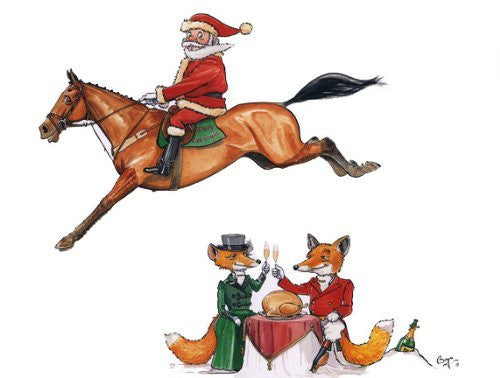 Christmas Toast. Horse and fox Christmas Card by Bryn Parry