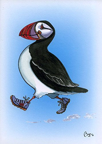 """Huffin Puffin"" cartoon puffin greeting card with envelope by artist Bryn Parry."