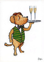 Celebration greeting card. Pickle with Champagne by Bryn Parry