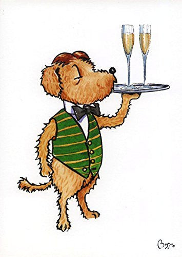 """Pickle with Champagne"" cartoon dog with two glasses of champagne, greeting card with envelope by artist Bryn Parry. Perfect for anniversary"