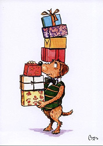 """Pickle with Presents"" cartoon dog with birthday presents, greeting card with envelope by artist Bryn Parry."
