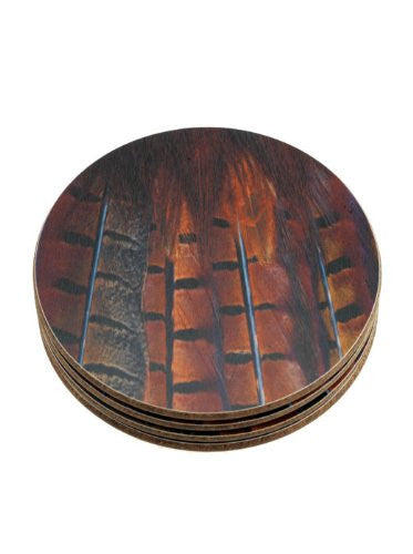 4 large round Pheasant tail feather melamine placemats, table mats perfect for serving mats or dinner service.