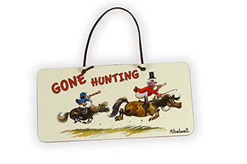 """Gone Hunting"" Door Sign by Thelwell. Gifts for people who horse ride."