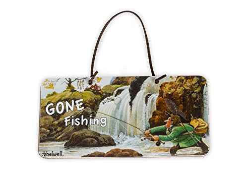 """Gone Fishing"" Door Sign by Thelwell. Gifts for people who fly fish"