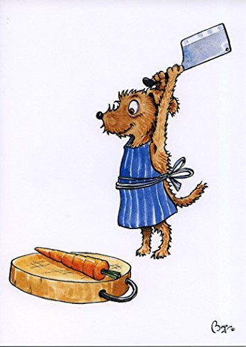 """Pickle Chops"" cartoon dog chopping carrot, greeting card with envelope by artist Bryn Parry."