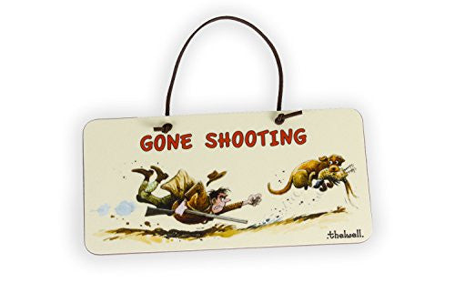 """Gone Shooting"" Door Sign by Thelwell. Gifts for people who hunt and shoot"