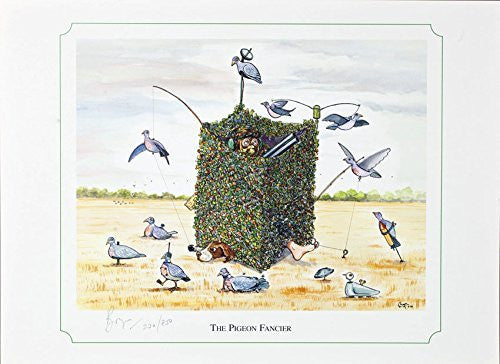 """The Pigeon Fancier"" shooting or hunting themed, cartoon, limited edition and signed original print by Bryn Parry. Perfect gift for the downstairs loo, study, shoot room. Limited run of 850 only and signed and numbered by the artist."