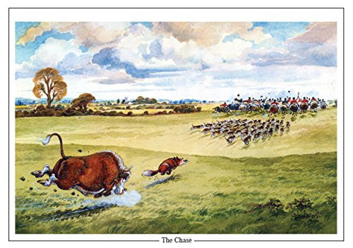 "Horse and Hunting Greeting Card ""The Chase"" by Norman Thelwell"