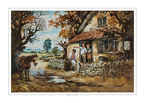 Point to Point Horse Racing print by Norman Thelwell. Collector's print. Co...
