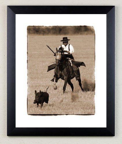 """Pigsticking"" signed limited edition photographic hunting print by Charles Sainsbury-Plaice"