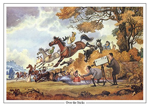 "Horse Racing Greeting Card ""Over the Sticks"" by Norman Thelwell"