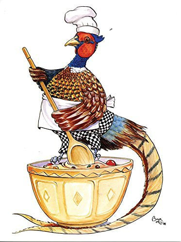 Shooting and Cooking Greeting Card by Bryn Parry. Mixed Up Pheasant