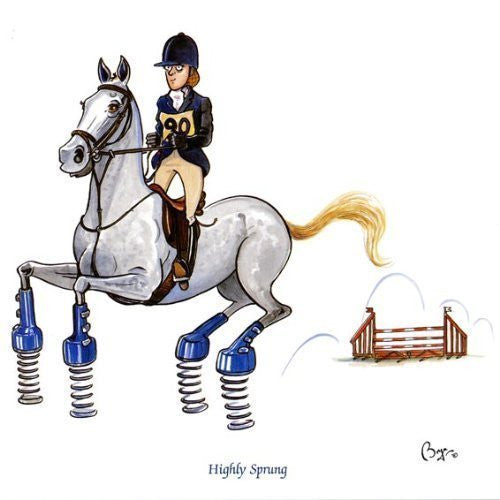 Horse riding greeting card by Bryn Parry. Highly Sprung