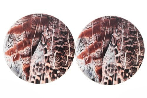 Grey Partridge Feather (No.1) Drinks Coasters MkII x2
