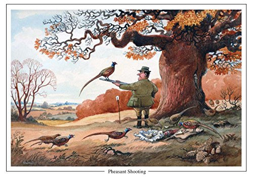 """Pheasant Shooting"" by Norman Thelwell A5 sporting Greeting Card with Envelope"