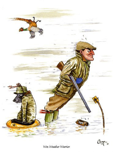 """Wet Weather Warrior"" Shooting Greeting Card by Bryn Parry"