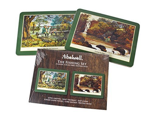 Thelwell Fishing Serving Mat Set. 2 assorted melamine mats with cork backs, f...
