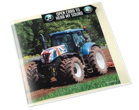 Tractor greeting card with engine sound inside